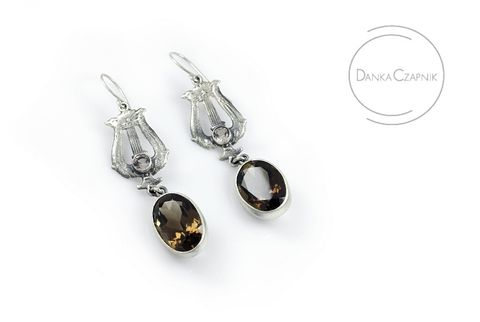 Dagny,|,SILVER,DROP,EARRINGS,With,SMOKY,QUARTZ,&,CITRINE,Silver Drop Earrings With Smoked Quartz, Handmade Jewellery