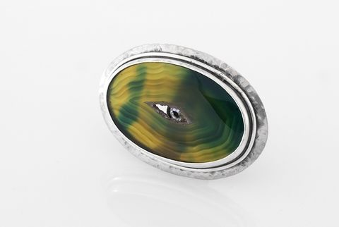 The,Double,Life,Of,Jewellery,I,|,SILVER,RING,With,AGATE,&,SAPPHIRE,Silver Ring With Agate And Sapphire, Handmade Jewellery