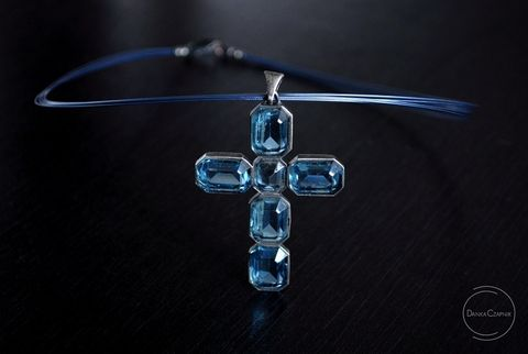 The,Blue,|,Silver,Cross,Pendant,With,Swarovski,Crystals,Silver Cross Pendant With Swarovski Crystals, Handmade Jewellery, Silver Jewellery