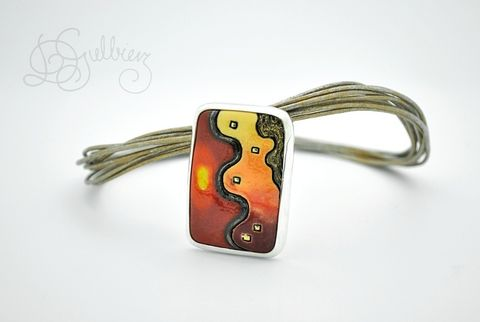 Dream,|,Silver,Pin,Pendant,With,Ceramic,Silver Pin Pendant With Ceramic, Handmade Jewellery