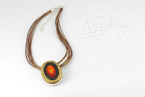 Magma,|,SILVER,Pin,PENDANT,With,Enamelled,CERAMIC,Silver Pin Pendant, ceramic necklace, handmade enamel jewellery