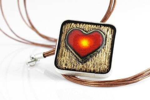 Cuore,|,Silver,Pin,Pendant,With,Enamelled,Ceramic,Silver Pin Pendant With Enamelled Ceramic, Sterling Silver Jewellery