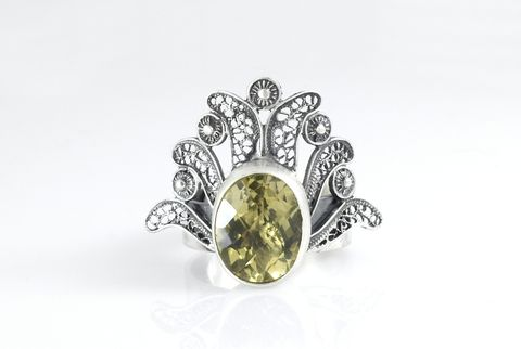 Spanish,Lace,Pinot,grigio,|,Silver,Filigree,Ring,With,Citrine,Silver Filigree Ring With Citrine, silver jewellery