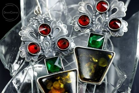 Virgo,VI,|,SILVER,Dangle,Earrings,With,Amber,,Zircon,SILVER Dangle Earrings, AMBER Jewellery