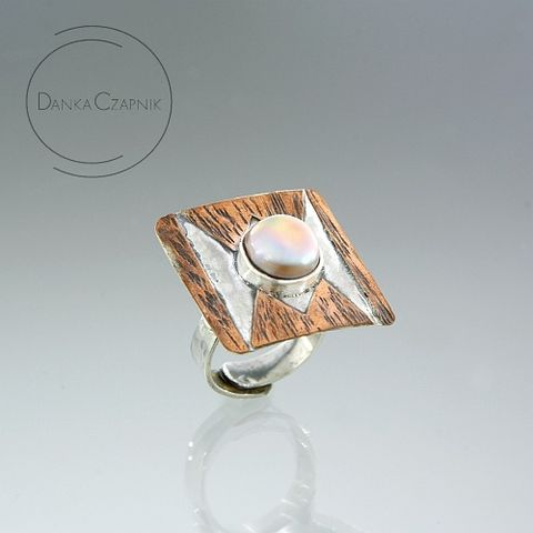 Uther,Pendragon,|,SILVER,&,COPPER,RING,With,PEARL,Silver Pearl Ring, copper ring, bespoke jewellery