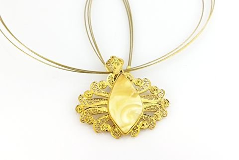 Spanish,Lace,I,|,Gold,Plated,Silver,Pendant,With,Amber,Gold Plated Silver Pendant With Amber, Silver Jewellery, Filigree Jewellery