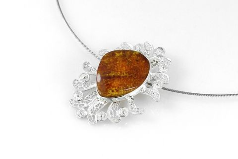 Spanish,Lace,II,|,Silver,Filigree,Pendant,With,Amber,Silver Filigree Pendant With Amber, unique handmade jewellery