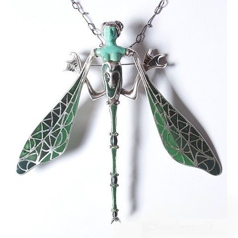 Dragonfly,Woman,|,Silver,ENAMEL,Pin,Pendant,With,GEMSTONES,Silver Pin Pendant With Turquoise, Sterling Silver Jewellery