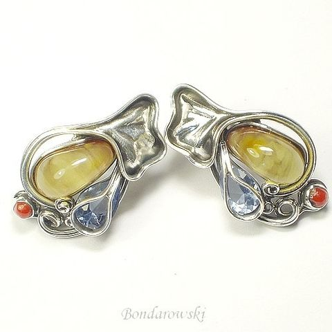 Art,Nouveau,|,Silver,Earrings,With,Amber,&,GEMSTONES,Silver Earrings With Amber And Zircon, Sterling Silver Jewellery