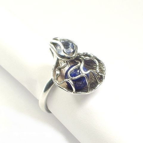 Sterling,Silver,Ring,With,Lapis,Lazuli,,Zircon,Sterling Silver Ring With Lapis Lazuli, Sterling Silver Jewellery
