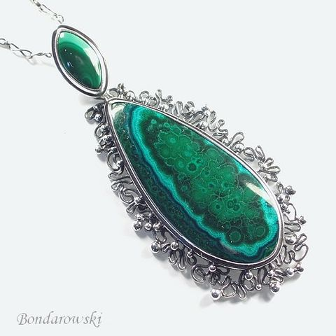 Sterling,Silver,Pendant,With,Malachite,Sterling Silver Pendant With Malachite, Silver Jewellery