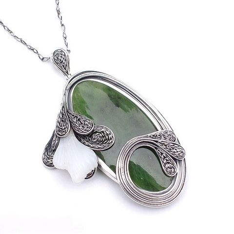 Siberian,Flower,|,Silver,Pin,Pendant,With,Opal,,Jade,Silver Pin Pendant With Opal And Jade, Sterling Silver Jewellery