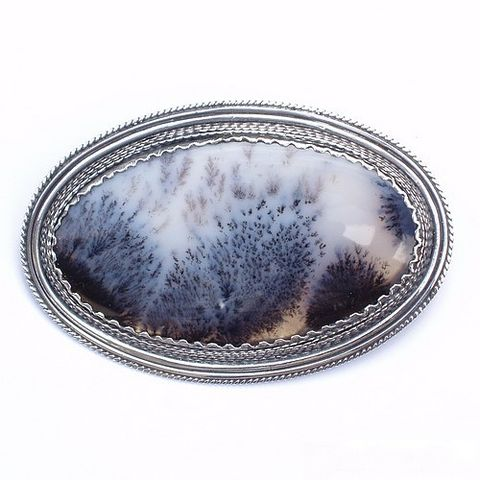 Tsarist,Brooch,|,Filigree,Silver,With,Moss,Agate,Filigree Silver Brooch With Moss Agate, Sterling Silver Jewellery