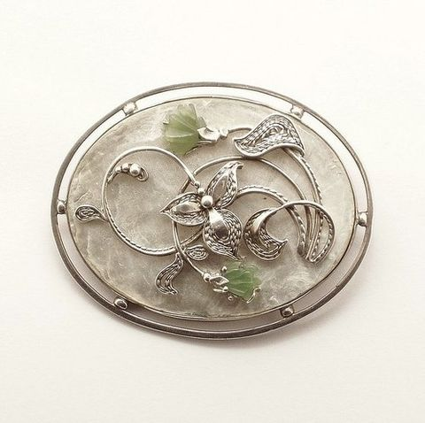 Tsarist,|,Silver,Brooch,With,Jade,,Mother,Of,Pearl,Silver Brooch With Jade, Sterling Silver Jewellery
