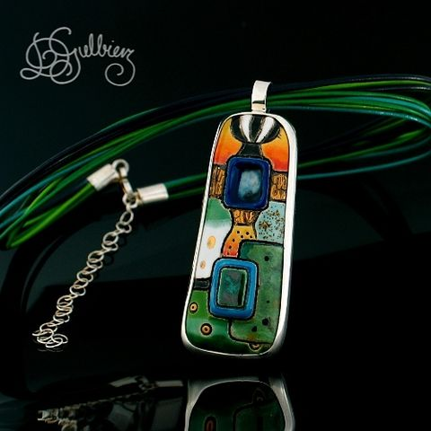 Klimt,In,The,Green,|,Silver,Pendant,With,Enamelled,Ceramic,Silver Pendant With Enamelled Ceramic, Unique Jewellery
