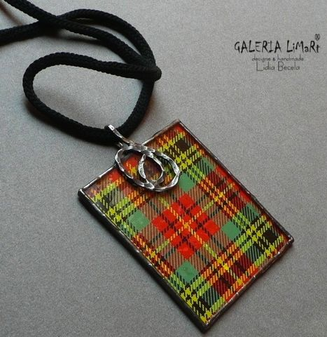 A,TARTAN,On,The,Top,|,GLASS,PENDANT,Glass Pendant, tartan pendant, eco alloy jewellery