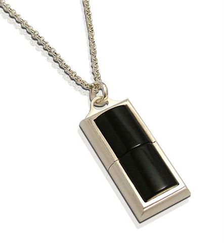 LUXDRIVE,P17,|,USB,Pendant,With,Onyx,USB Drive, Pendant With Onyx, SILVER Jewellery