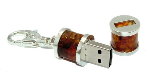 LUXDRIVE,P29,|,USB,Keychain,With,Amber,USB Drive, Keychain With Amber, UNIQUE Jewellery