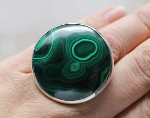 Sterling,Silver,Ring,With,Malachite,Sterling Silver Ring With Malachite, Silver Jewellery