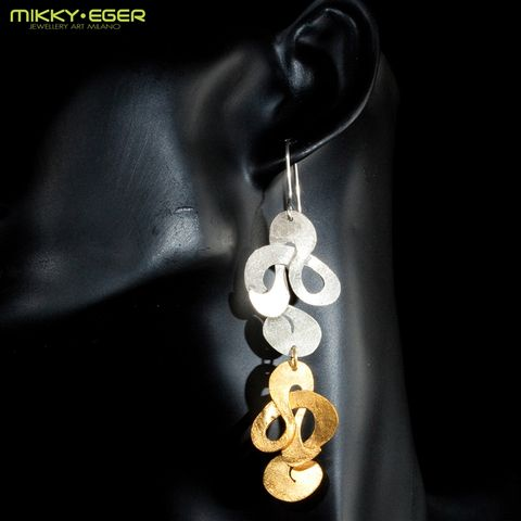 Potamides,nymphe,|SILVER,&,GOLD,PLATED,LONG,EARRINGS,contemporary jewellery, Mikky Eger