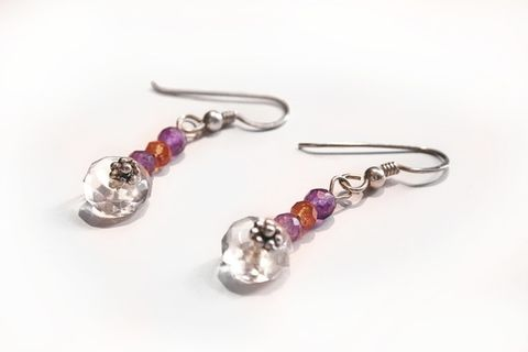 SILVER,DROP,EARRINGS,With,GEMSTONES,Silver Earrings With Citrine And Amethyst, Handmade Jewellery