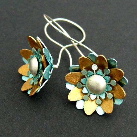 Forget,Me,Not,|,Aluminium,Earrings,With,Sterling,Silver,Aluminium Earrings With Sterling Silver, Handmade Jewellery