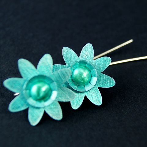 Daisy,Aluminium,Earrings,Daisy Aluminium Earrings, aluminium earrings, handmade jewellery
