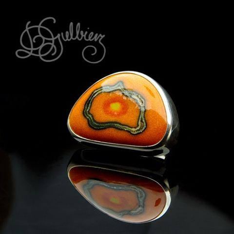 Pacific,Sunset,|,Silver,Ring,With,Enamelled,Ceramic,Silver Ring With Enamelled Ceramic, Bespoke Jewellery