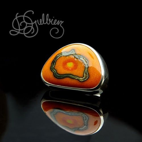 Pacific Sunset | Silver Ring With Enamelled Ceramic - product images  of