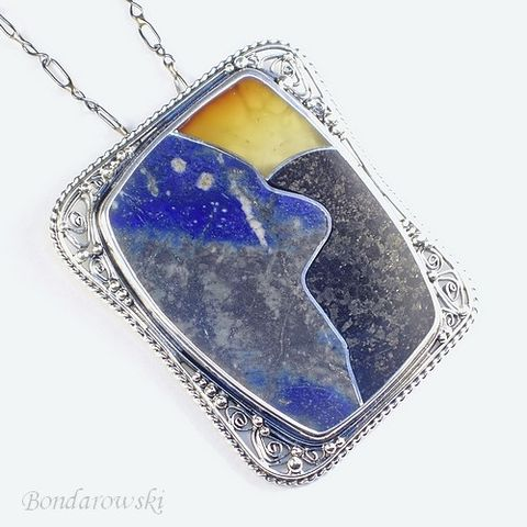 Painted,With,Stones,|,Sterling,Silver,Pendant,Amber,&,GEMSTONES,Sterling Silver Pendant With Amber And Lapis Lazuli, Handmade Jewellery