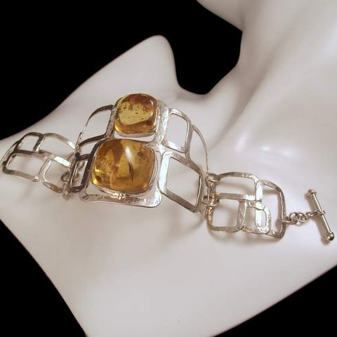 To,The,Square,|,Silver,Bracelet,With,Baltic,Amber,To The Square Silver Bracelet With Baltic Amber, silver amber jewellery