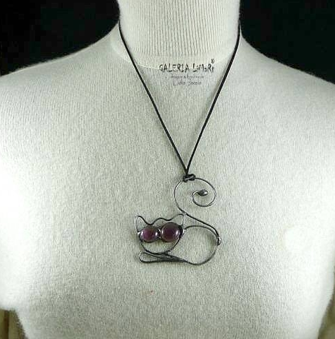Beautiful,Cat,|,Eco,Alloy,Pendant,With,Quartz,Eco Alloy Pendant With Quartz, Handmade Jewellery