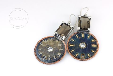 Panta,Rhei,I,|,Silver,&,COPPER,Drop,Earrings,With,GEMSTONES,Clock,Faces,Silver Drop Earrings With Quartz And Sapphire, Sterling Silver Jewellery