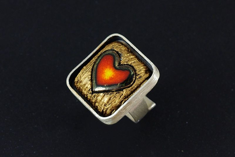 Cuore | SILVER Square RING With CERAMIC - product images  of