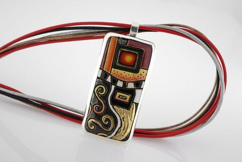 Klimt,In,Red,|,CERAMIC,SILVER,PENDANT,NECKLACE,Red Ceramic Pendant, silver necklace, bespoke artisan jewellery