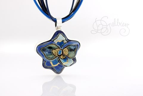 Flower,In,Blue,|,SILVER,Pendant,With,Ceramic,SILVER Pendant With Ceramic, HANDMADE Jewellery