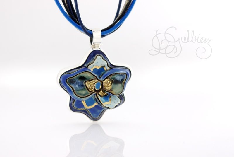 Flower In Blue | SILVER Pendant With Ceramic - product images  of