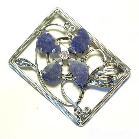 Cornflower,|,Sterling,Silver,Brooch,With,Sodalite,,Zircon,Sterling Silver Brooch With Sodalite, Sterling Silver Jewellery