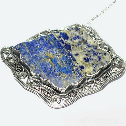 Natural,Impressionism,|,Silver,Pendant,With,Lapis,Lazuli,Silver Pendant With Lapis Lazuli, Sterling Silver Jewellery