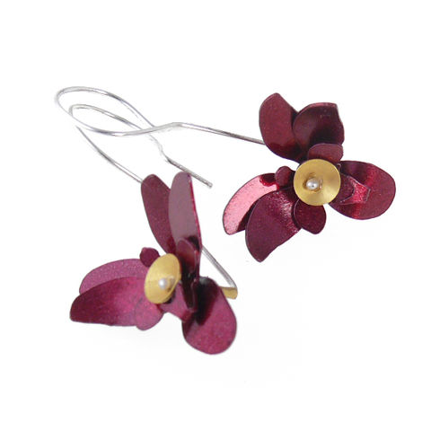 Pink,Orchid,|,Aluminium,Earrings,With,Sterling,Silver,Aluminium Earrings With Sterling Silver, Bespoke Jewellery