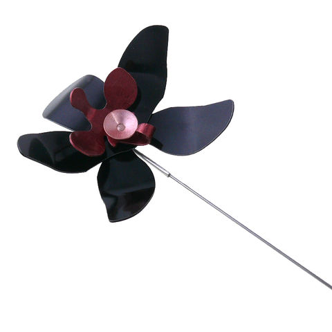 Black,Orchid,|,Aluminium,Pin,Brooch,With,Silver,Aluminium Pin Brooch With Silver, Unique Jewellery
