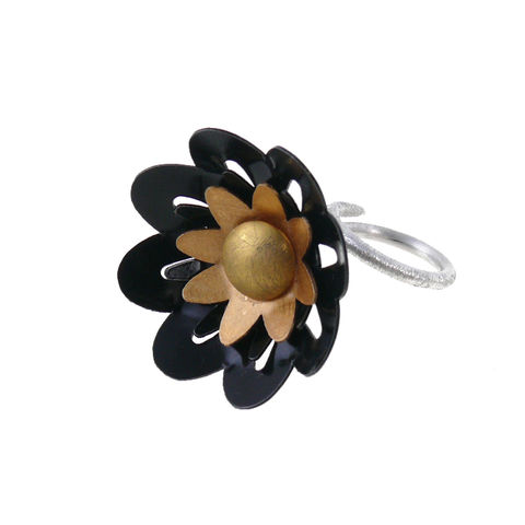 Grey,Daisies,-,aluminium,&,silver,ring,Sterling Silver Ring, Ring with Aluminium, Handmade Ring, Handmade Jewellery, Sterling Silver, Martyna Tejwan - Made by Tejwan