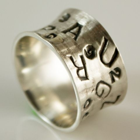 Letters,And,Digits,|,Silver,Band,Ring,Silver Band Ring, Artisan Jewellery