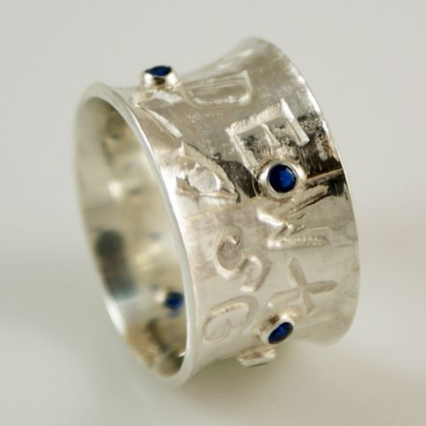 Sapphire,Letters,|,Sterling,Silver,Band,Ring,Silver Band Ring, Sterling Silver Jewellery