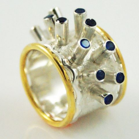 Sapphire,Forest,|,Silver,&,Gold,Plated,Ring,Gold Plated Ring With Sapphire, Silver Jewellery