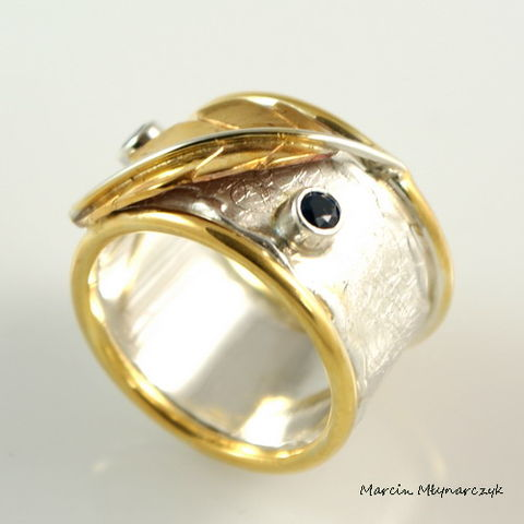 Leaf,|,Silver,And,Gold,Plated,Ring,Silver And Gold Plated Ring, Silver Jewellery
