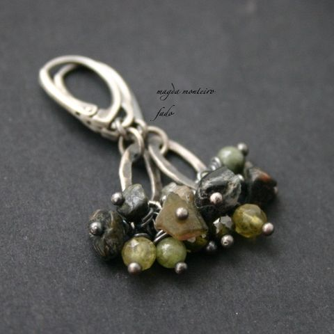 Greengrocer,|,SILVER,MULTI-STONES,CLUSTER,EARRINGS,Multi-Stones Cluster Earrings, silver dangle earrings, handmade jewellery store