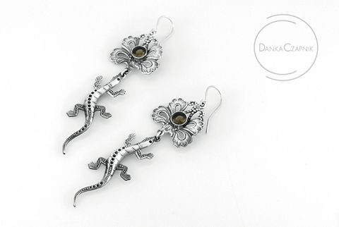 Salamander,With,A,Crown,I,|,SILVER,DANGLE,EARRINGS,SMOKED,QUARTZ,Silver Dangle Earrings, smoked quartz earrings, handmade jewellery