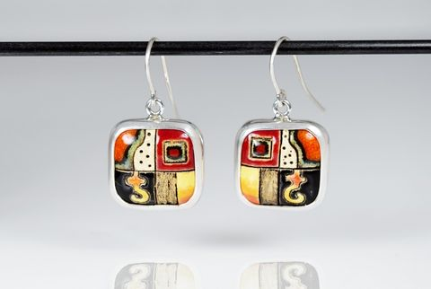 Klimt,In,Red,|,SILVER,SQUARE,EARRINGS,With,CERAMIC,Silver Square Earrings, ceramic earrings, handmade bespoke jewellery