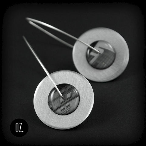 Circles,Two,Cities,|,Silver,Dangle,Earrings,With,Resin,,Aluminium,Silver Dangle Earrings With Resin, Silver Jewellery
